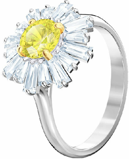 Swarovski Sunshine Ring, Yellow, Rhodium Plating 52