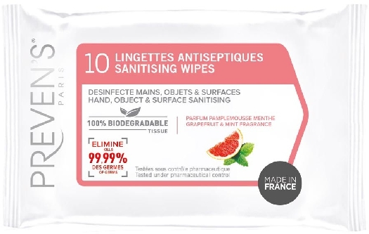 Prevens antiseptic hand wipes, 10 pieces pocket size