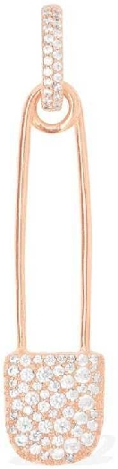 APM Monaco Long Mono Safety Pin Earring With Hoop - Pink Silver