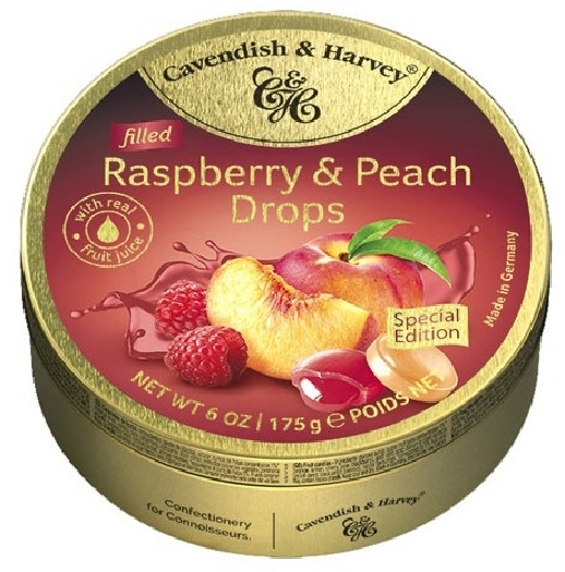 Cavendish&Harvey Raspberry&Peach Drops Filled 175g