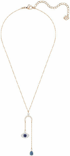 Swarovski Symbolic Evil Eye Y Necklace, Multi-colored, Rose Gold Plating
