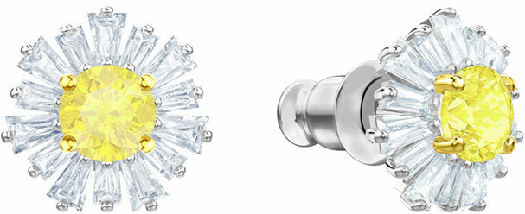 Swarovski Sunshine Pierced Earrings, White, Rhodium Plating