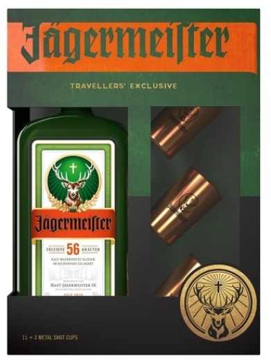 Jagermeister + 3 Metal Shot Cups