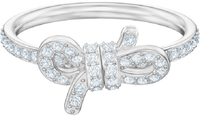 Swarovski Lifelong Small Bow Ring, White, Rhodium Plating 52