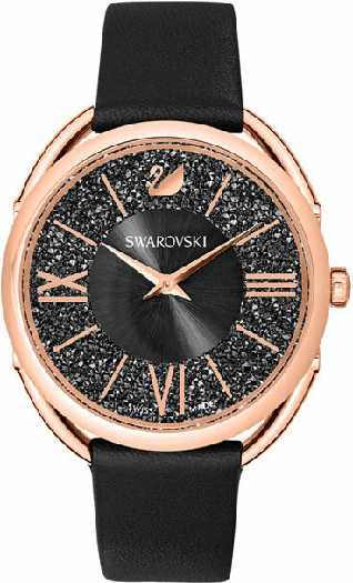 Swarovski Crystalline Glam Watch, Leather Strap, Black, Rose Gold Tone
