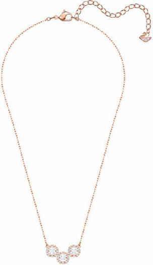 Swarovski Sparkling Dance Trilogy Necklace, White, Rose Gold Plating