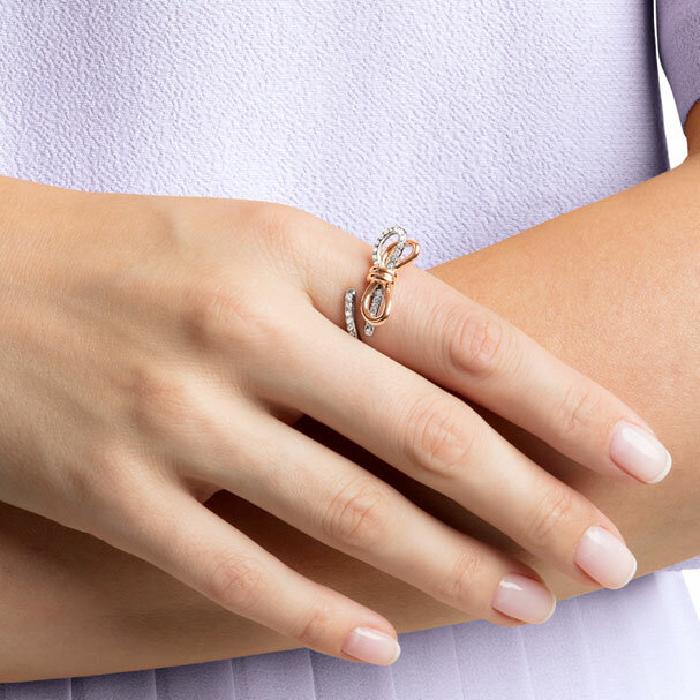 Swarovski Lifelong Medium Bow Ring, White, Mixed Plating 58