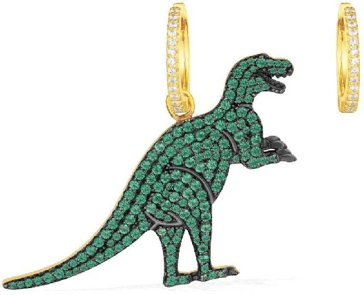 APM Monaco Asymmetric Green Rexy Earring And Its Hoop - Yellow Silver