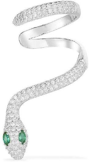 APM Monaco Mono Serpentine Statement Sliding Ear Cuff - Silver
