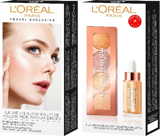 L'Oreal Paris Make-Up set set La Vie En Glow Palette 5 g + Glow Mon Amour Champagne 15 ml