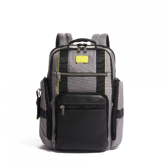 Tumi ALPHA BRAVO Laptop Backpack Sheppard Deluxe Brief Pack, Grey/Yellow 0232389GBL8603