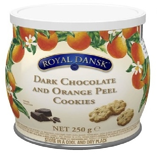 Royal Dansk Dark Chocolate And Orange Peel Cookies 250g