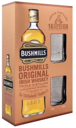 Bushmills Original 40% Gift Pack+2 Glasses 1L