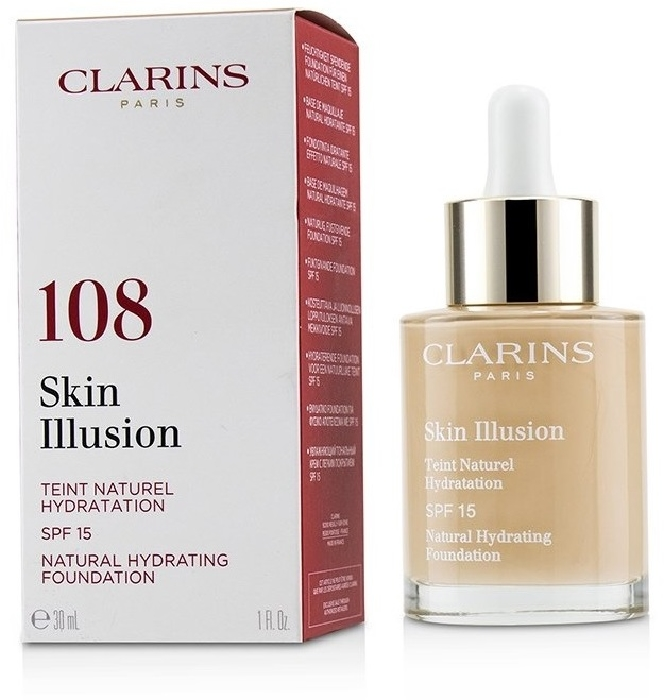 Clarins Skin Illusion Fluid Foundation SPF 15 #108 - Sand 30ml