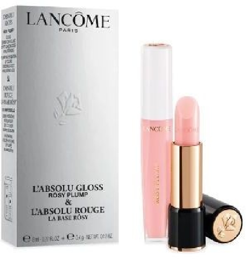 Lancome Lipstick set Lipcare routine Duo Set: Absolu Gloss Rosy plump 8 ml+Absolu Rouge La Base 4,2 ml