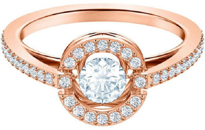 Swarovski Sparkling Dance Round Ring, White, Rose Gold Plating 58