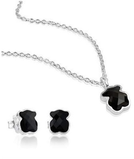 Tous Sterling Silver Teddy Bear Necklace&Earrings Set