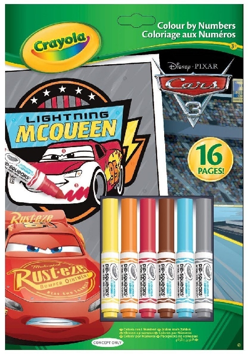 Crayola Cars 3 Colour by Numbers