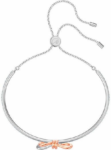 Swarovski Lifelong Bow Bangle, White, Mixed Plating
