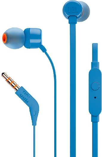 JBL T110 Pure Bass In-Ear Headphones with Mic Blue 12.7g