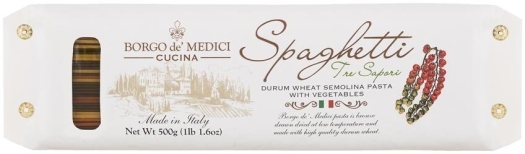 Borgo de Medici - Three Colors Spaghetti durum wheat semolina pasta - white paper wrapped 500g