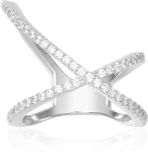 APM Monaco Paved X-Shape Ring - Silver