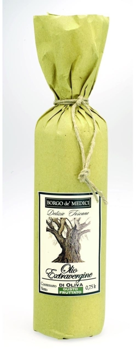 Borgo de Medici extra virgin olive oil in old style yellow paper 750ml