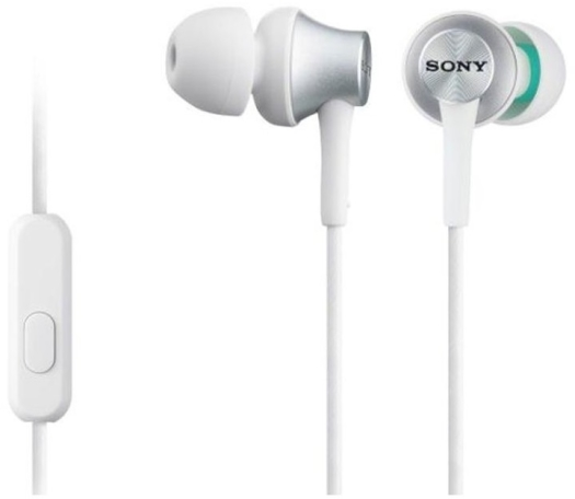 Sony MDR-EX110AP In-ear Headphones with Mic White 3.2g